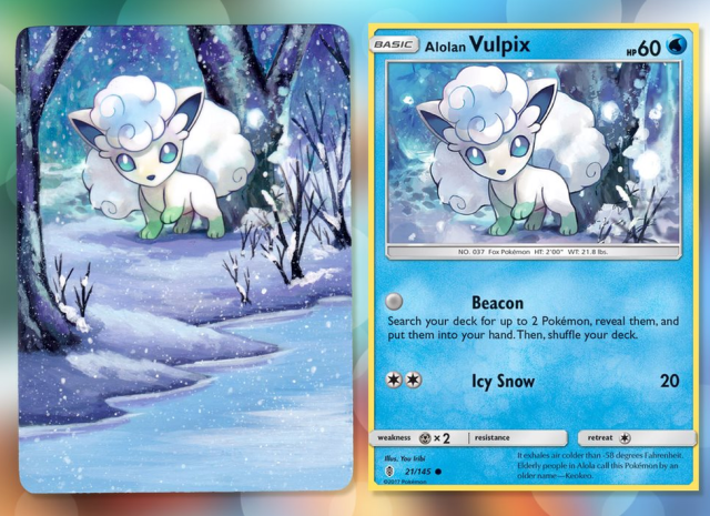 A Pokemon card of Vulpix, beside a painting on the same card. The name of the Pokemon and other similar information has been painted over to extend the landscape, creating a snowy scene with a frozen river and tall trees.