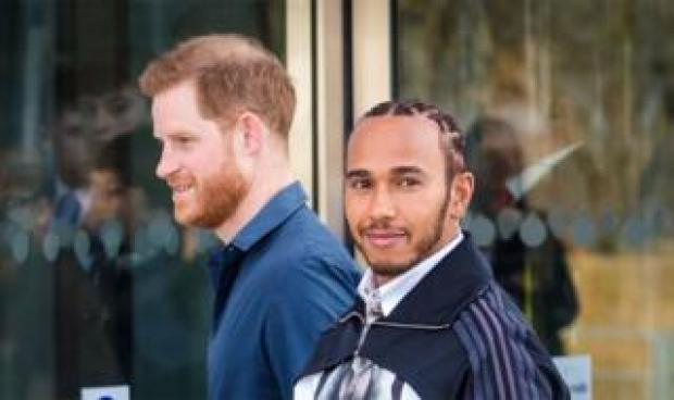 Prince Harry and Formula One world champion driver Lewis Hamilton