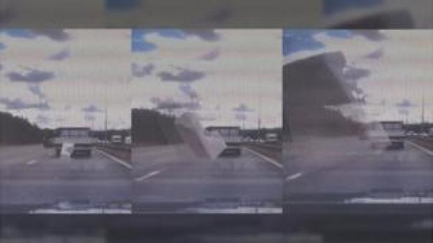 Dash Cam footage on the M606 near Bradford