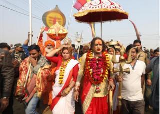A procession by a Hindu akhara congregation