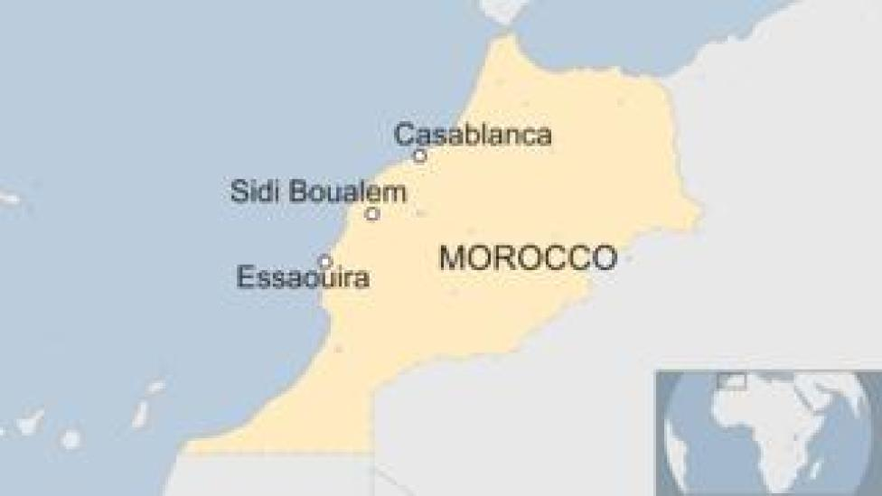 Map of Morocco showing location of Casablanca, Sidi Boualem, and Essaouira