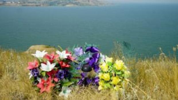 A memorial overlooking Lake Sakakawea
