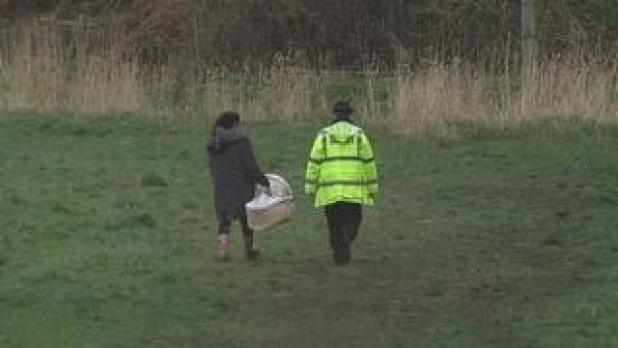 Cot being taken to scene of baby find