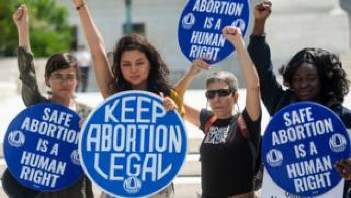 Abortion rights demonstrators hold a rally outside the US Supreme Court in Washington