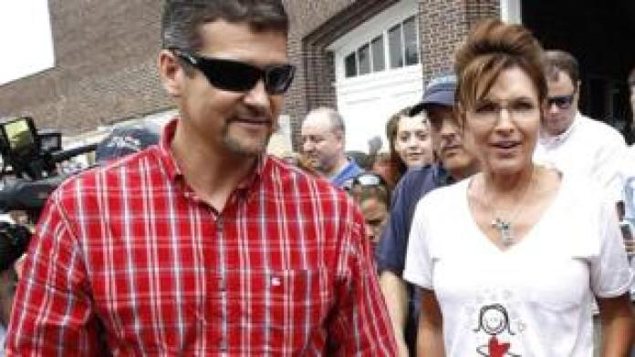 Former Governor of Alaska Sarah Palin together with her husband Todd visit the Iowa State Fair in Des Moines, Iowa, August 2011