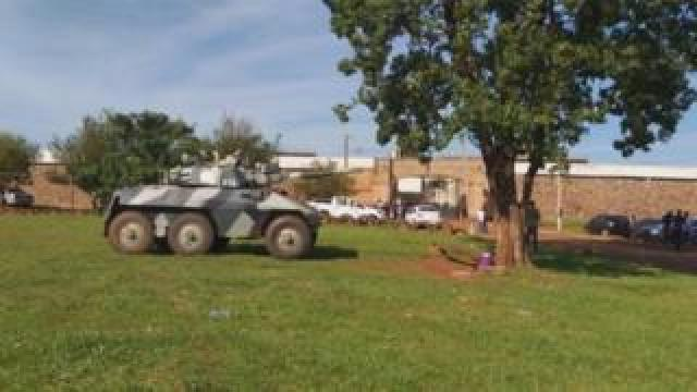 Army vehicle outside the Pedro Juan Caballero prison