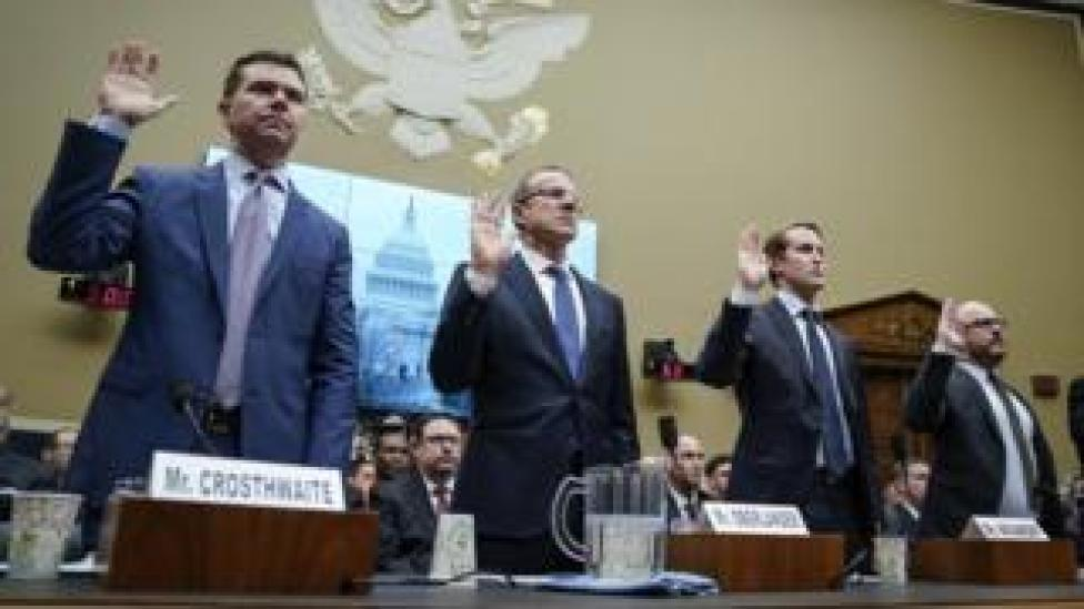 KC Crosthwaite, CEO of JUUL Labs, Ricardo Oberlander, President and CEO of Reynolds American Inc., Ryan Nivakoff, CEO of NJOY LLC, and Antoine Blonde, President of Fontem U.S., are sworn in during a House Committee on Energy and Commerce hearing concerning the health risks of vaping, in the Rayburn House Office Building on Capitol Hill, February 5, 2020
