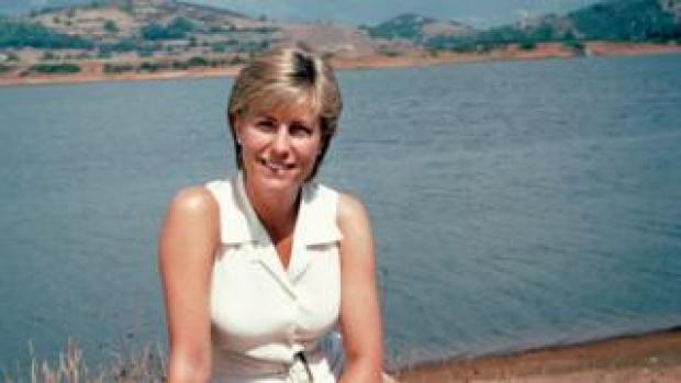 Jill Dando at a spa outside Rome, while filming the travel series Holiday