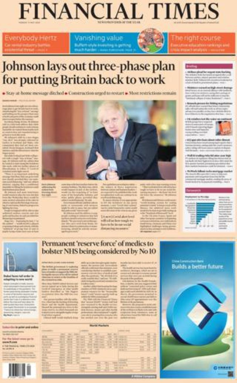 The Financial Times front page 11 May