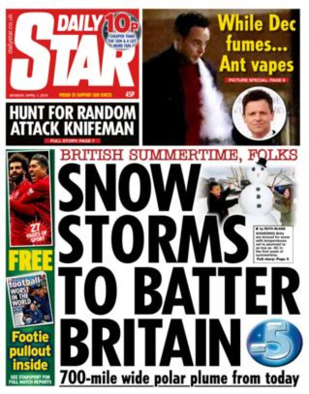 Monday's Daily Star front page
