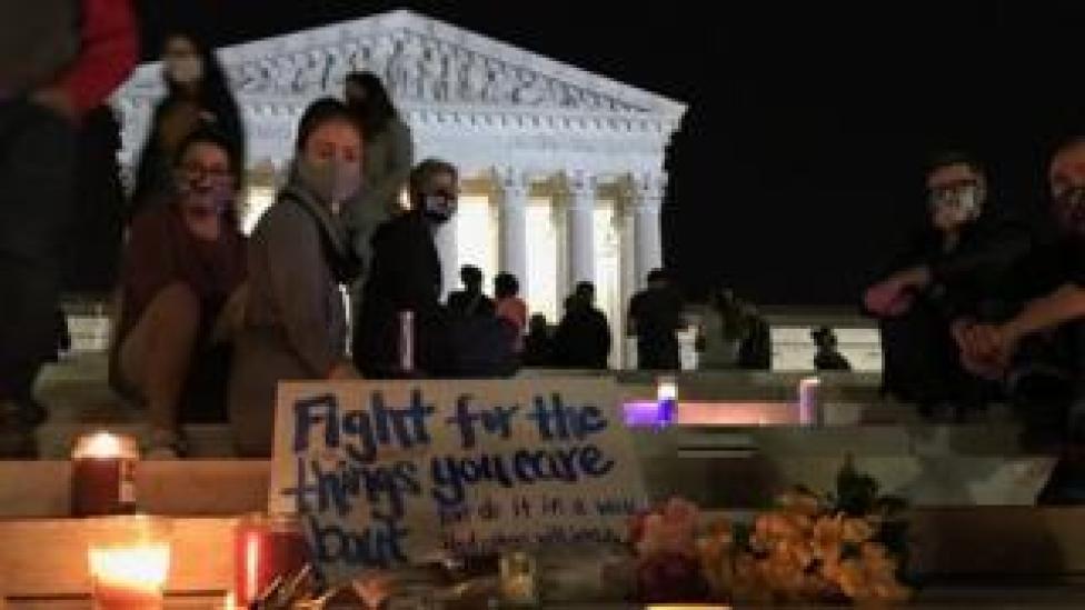 People outside US Supreme Court, Washington DC, 18 September 2020