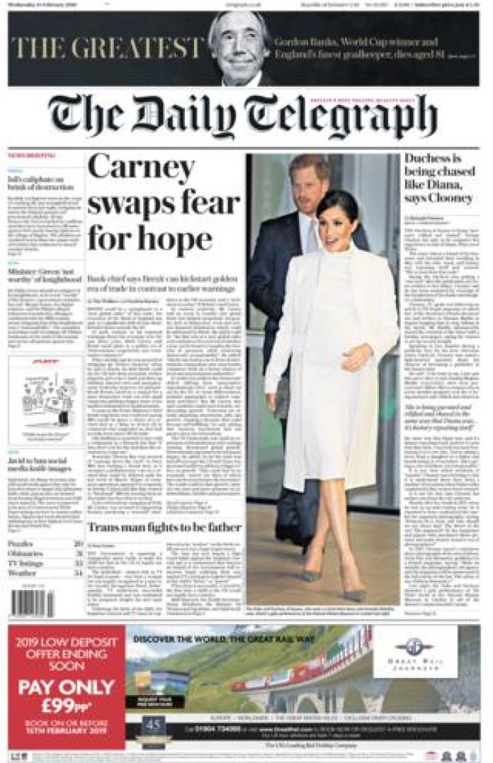 Daily Telegraph front page 13/02/19