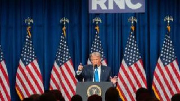 Trump speaks to delegates