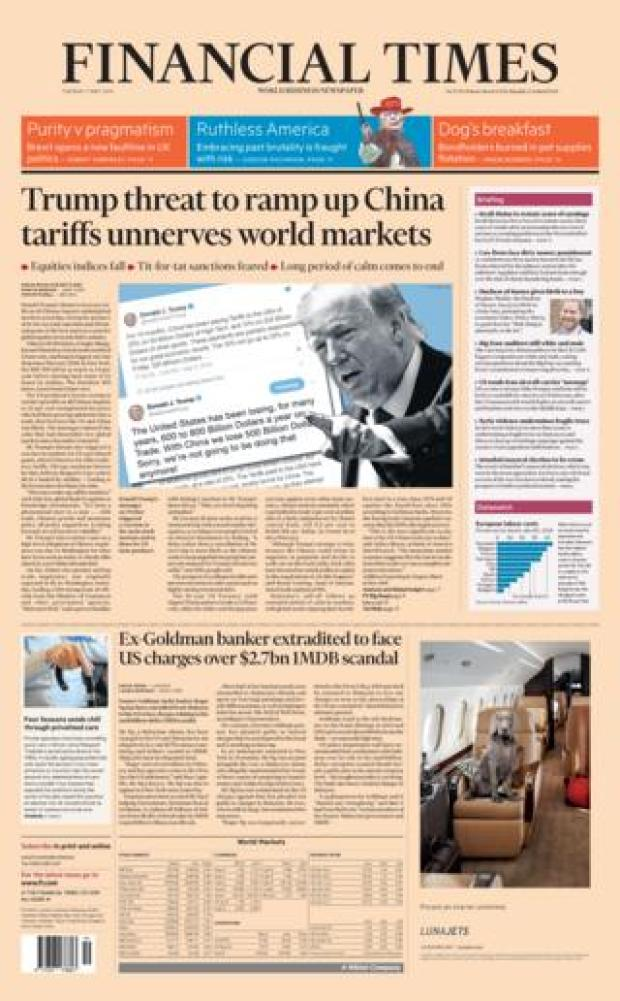 FT front page 07/05/19