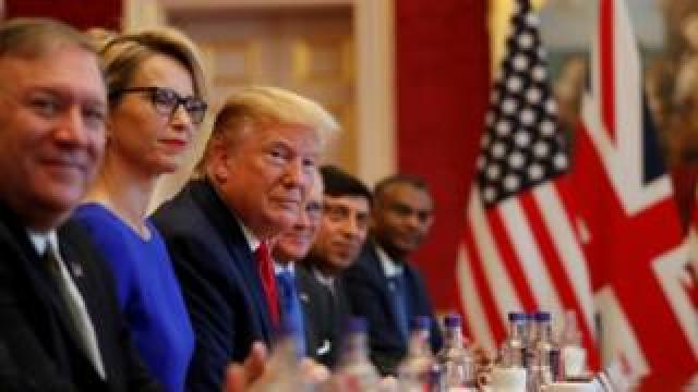 Mr Trump and Mrs May held a roundtable business meeting on Tuesday morning