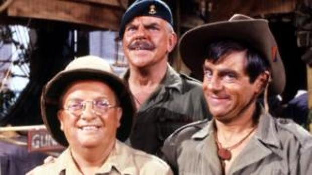 Pictured in 1981 with Don Estelle and Melvyn Hayes in It Ain't Half Hot Mum