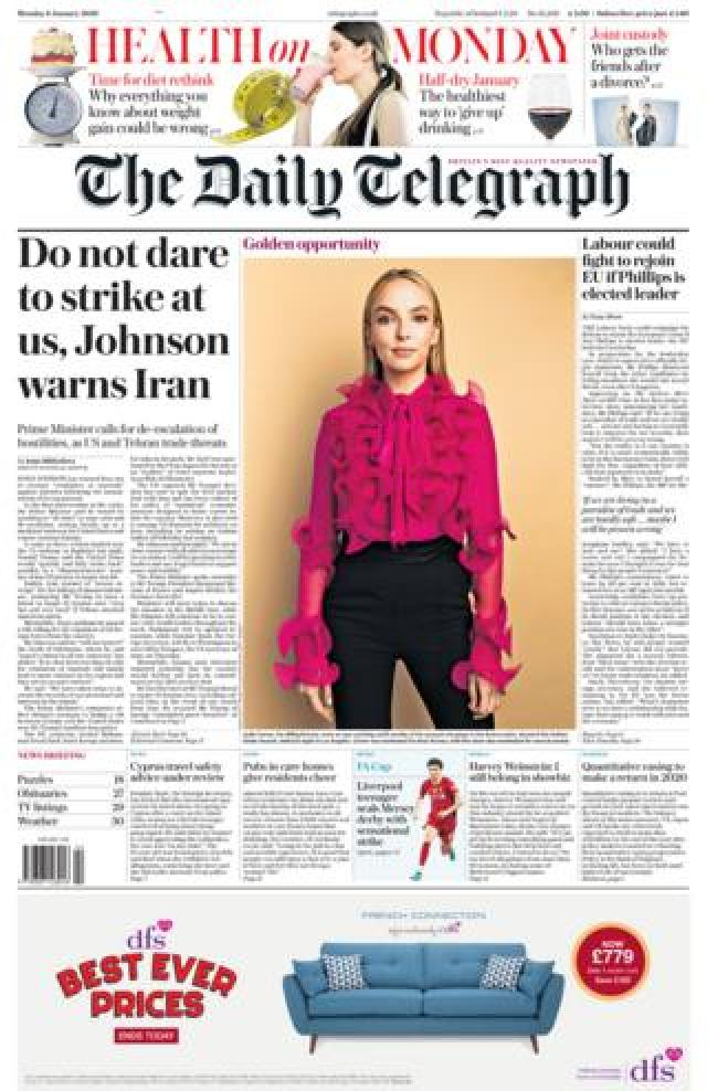 Telegraph front page 6 January 2020