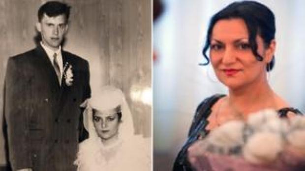Yevgeniya Shishkina on wedding day and in recent photograph