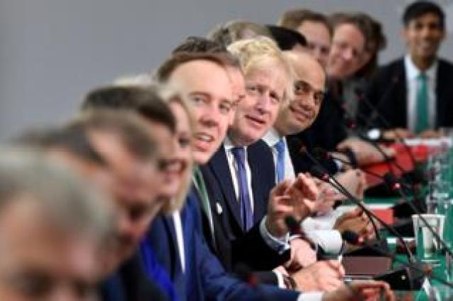 Britain's Prime Minister Boris Johnson (C) chairs a cabinet meeting at the National Glass Centre at the University of Sunderland, in Sunderland, northeast England on 31 January 2020.