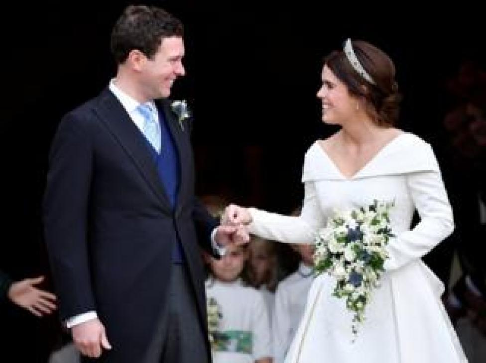 NEWS Jack Brooksbank and Princess Eugenie leave St George's Chapel