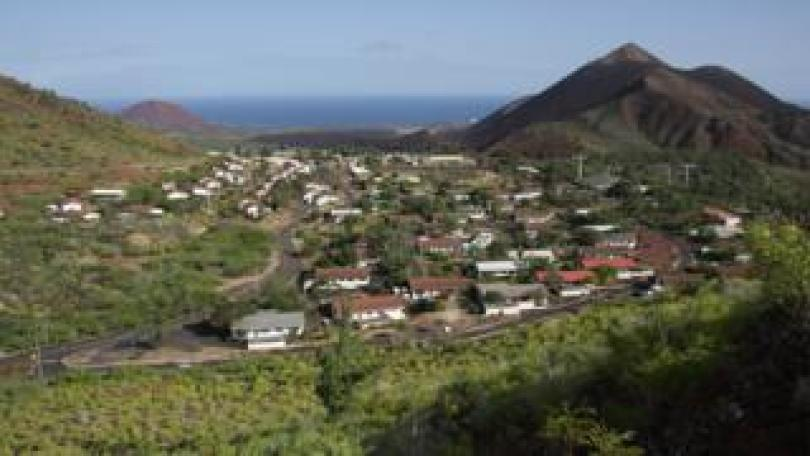 Two Boats Village and Sisters Peaks on Ascension Island