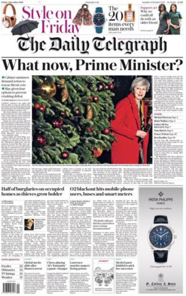 Daily Telegraph front page, 7/12/18