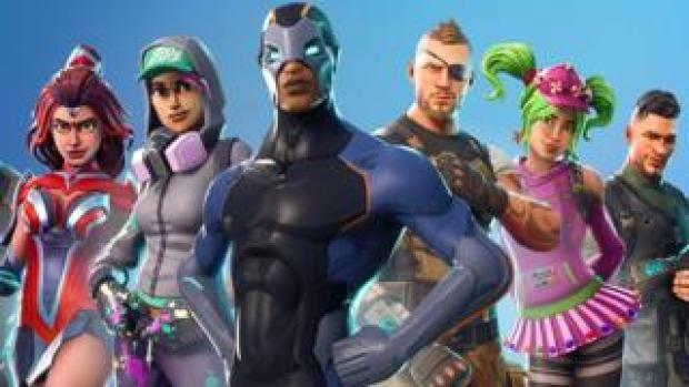 A series of colourful characters are shown in this Fortnite promotional image