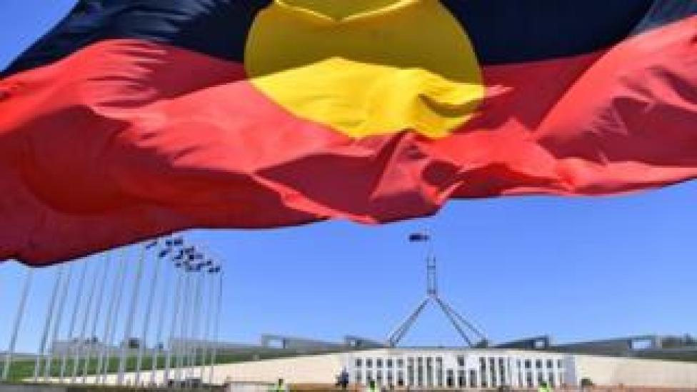 Aboriginal flag in front of Australia's parliament