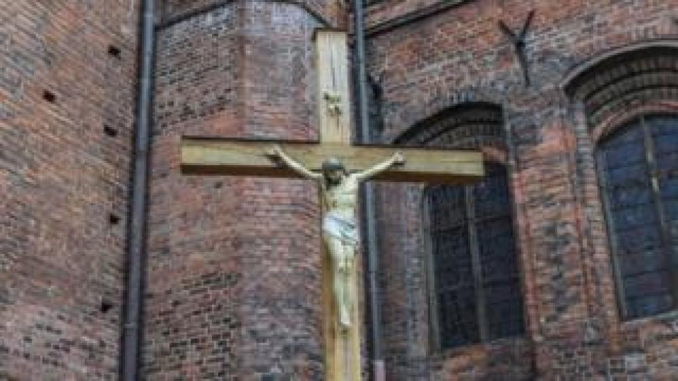 Cross outside polish church