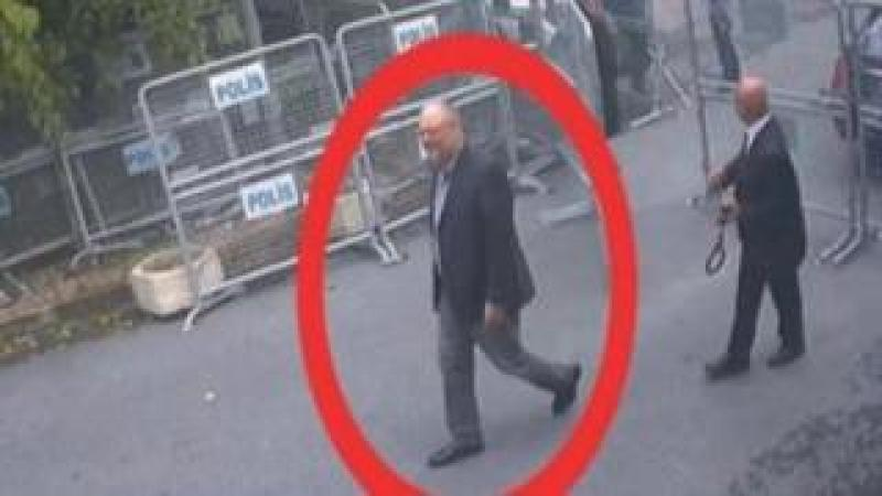 A still image taken from CCTV video and obtained by TRT World claims to show Saudi journalist Jamal Khashoggi, highlighted in a red circle by the source, as he arrives at the Saudi Arabian consulate in Istanbul, Turkey on 2 October 2018