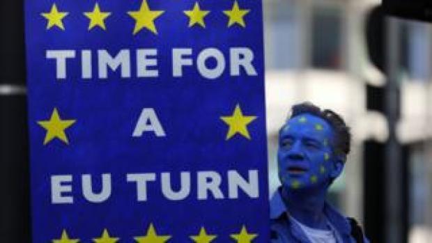 A demonstrator calling for a 'EU turn'