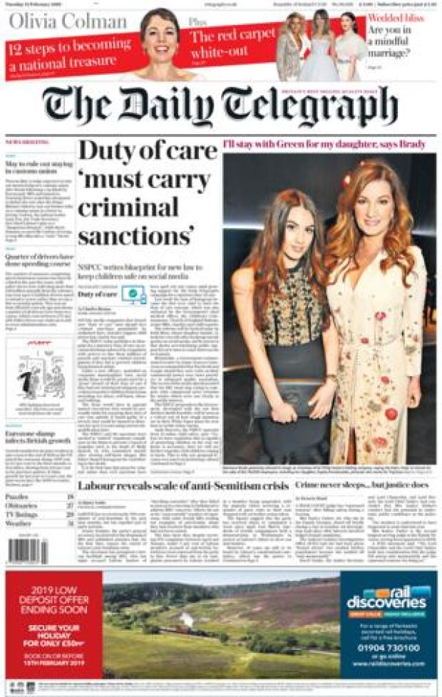 Telegraph front page 12/02/19