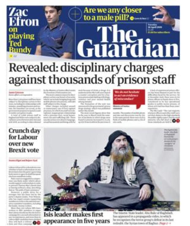 Guardian front page - 30/04/19