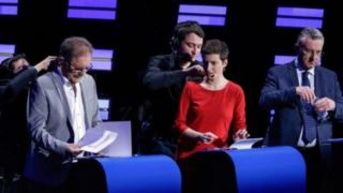 Nico Cue of European Left (EL), Ska Keller of European Green Party (EGP), and conservative Jan Zahradil get ready for the debate