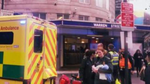 Ambulance and paramedics at Warren Street station