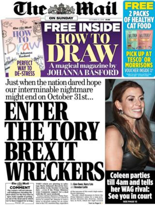 Front page of the Mail on Sunday on 13 October 2019