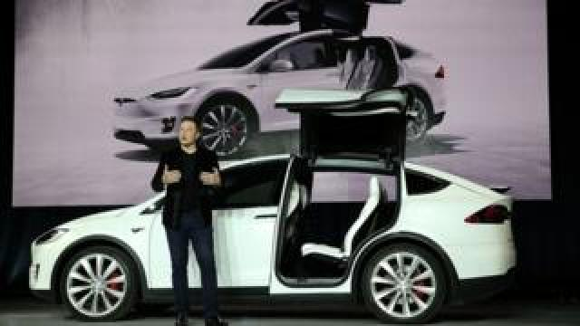 Tesla chief executive Elon Musk speaks during a company launch event