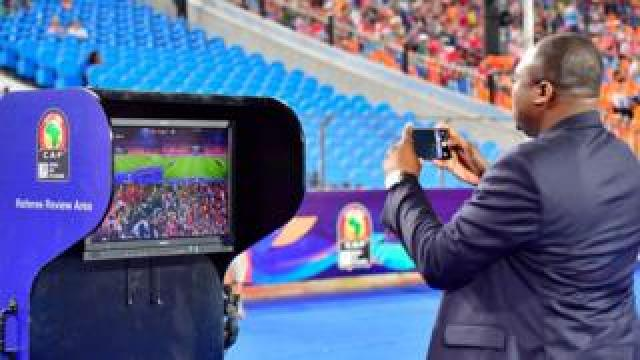 The VAR station is pictured during the 2019 Africa Cup of Nations (CAN) quarter final football match between Nigeria and South Africa at Cairo international stadium on July 9, 2019.