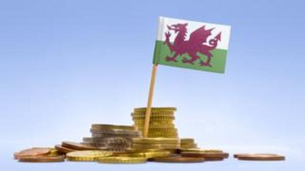 Welsh flag and Welsh coins
