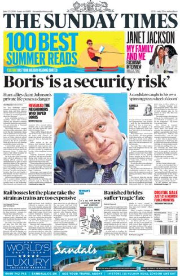 Sunday Times front page 23.06.19