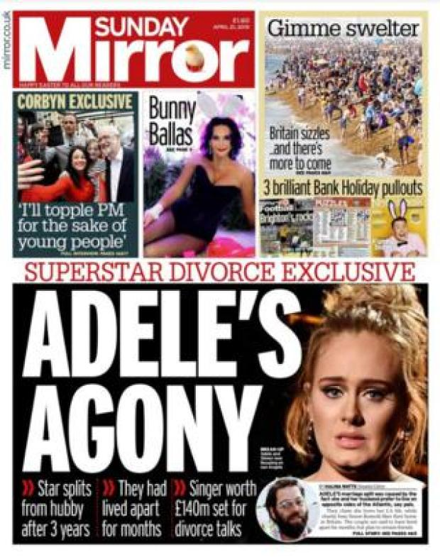 Sunday Mirror front page 21/04/19