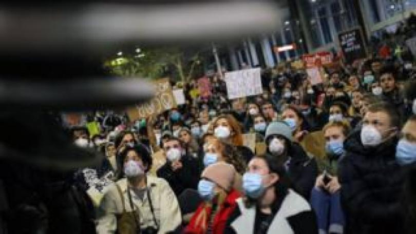 Crowd at a Black Lives Matter protest in Sydney wearing face masks