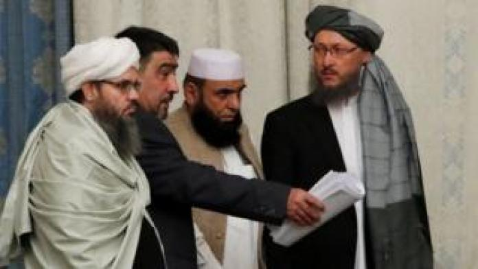 Members of the Taliban delegation take place during the multilateral peace talks on Afghanistan in Moscow, Russia, on November 9, 2018.