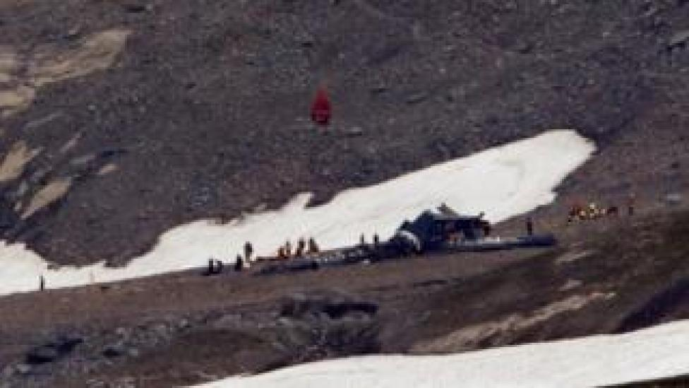 A general view of the accident site of a Junkers Ju-52 airplane