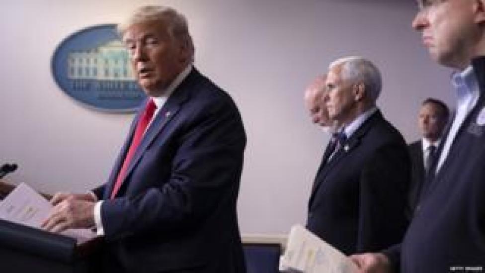 President Donald Trump speaks at the daily coronavirus briefing