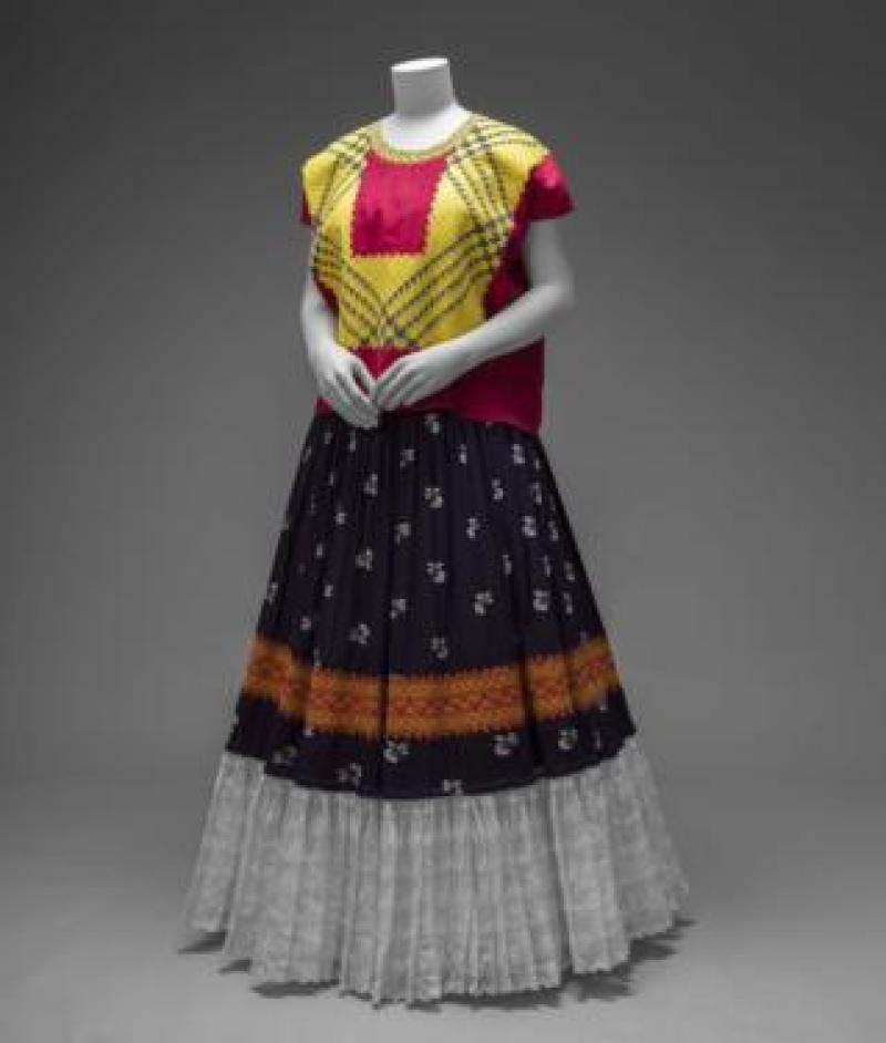 Cotton huipil and cotton printed skirt worn by Frida Kahlo