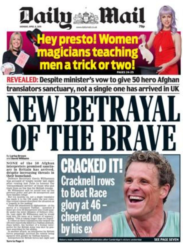 Daily Mail front page, 8/4/19
