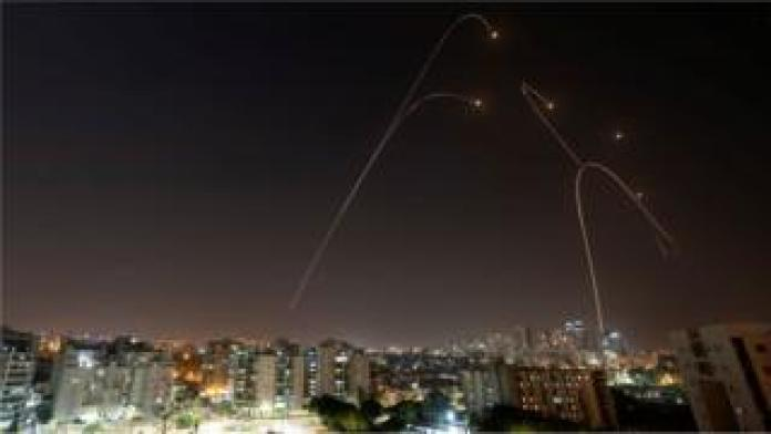 The Iron Dome missile system fires interception missiles as rockets are launched from Gaza to Israel, as shown in the city of Ashkelon, Israel, on November 13, 2019.