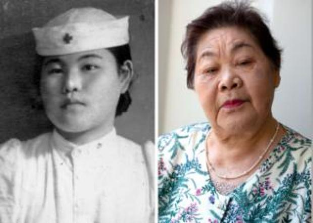 Two photos, one showing Teruko Ueno as a nurse as a young woman, and one showing her as an elderly woman