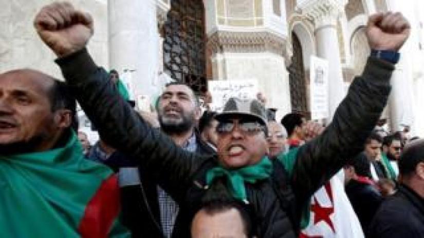 Military veterans protest to demand the resignation of President Abdelaziz Bouteflika on Friday.